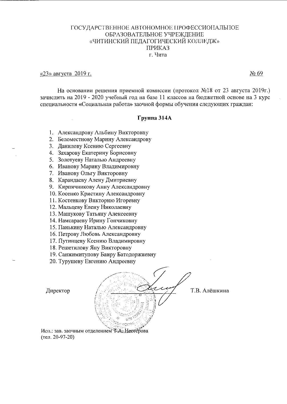 Список студентов 314А